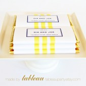 Personalized Three Stripe Chocolate Bar Wrappers and Gold or Silver Foils
