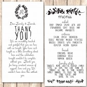 Wreath Monogram Menu and Thank You Card