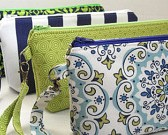 wristlet clutch  in apple green and navy marine