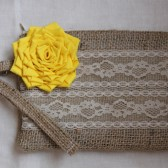 Burlap and Lace Wedding Wristlet