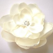 ivory cream big rose blossom wedding flower hair comb