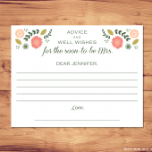 Printable Bridal Shower Advice Card