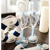 Beach Wedding Glasses with Handmade Decorations (1 Pair)