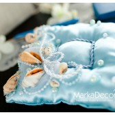 Wedding Ring Pillow Beach Wedding with Shells, Cords, Beads and Pearls
