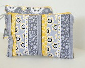 cosmetic bag clutch yellow and gray