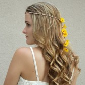 hippie-wedding-headband, yellow-daisy, bridesmaid-hair-accessory, floral-crown, hair-flowers, veil-alternative, daisy-headband