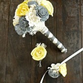 Custom Handmade Wedding Bouquet -Yellow Gray Ivory Bridal Bouquet, Keepsake Bouquet, Elegant Wedding