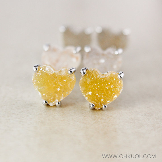 yellow heart shaped druzy earrings