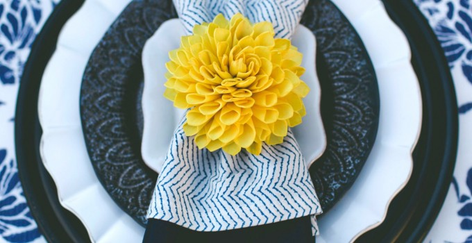 yellow napkin ring holders