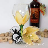 Stargazer lilly hand painted wine glass in yellow