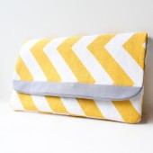 Clutch Purse, Yellow Chevron with Grey