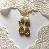 Romantic Vintage Style Pearl Bow Yellow Rhinestone earrings Estate Jewelry