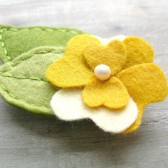 Felt Yellow Flower Barrette with Leaves