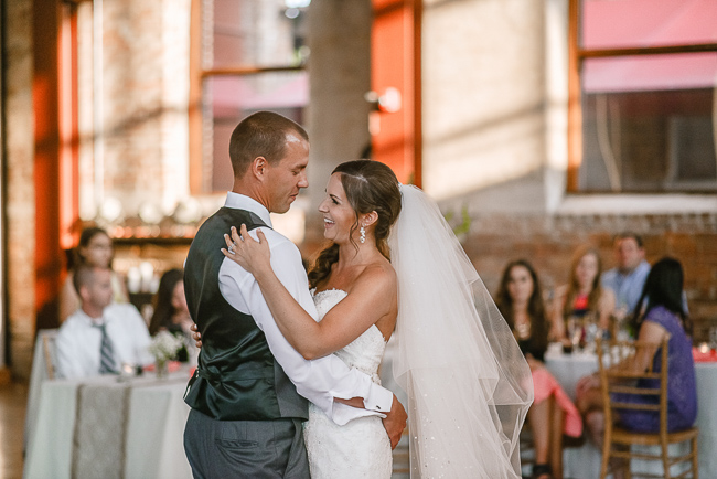 the bride and groom's first dance | photo: Photos by Kristopher | via http://emmalinebride.com