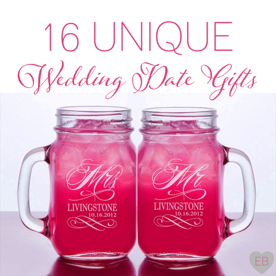 16 Unique Wedding Date Gifts via Emmaline Bride http://emmalinebride.com/gifts/wedding-date-gifts/