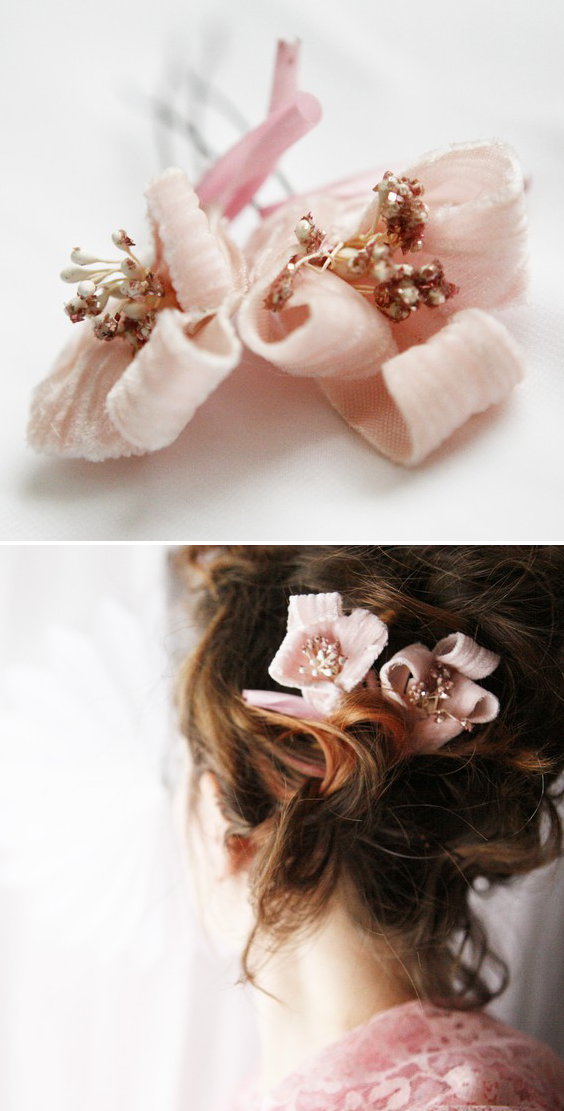 bridal hair pins in pink