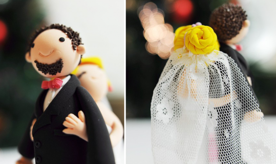 handmade bride and groom cake toppers