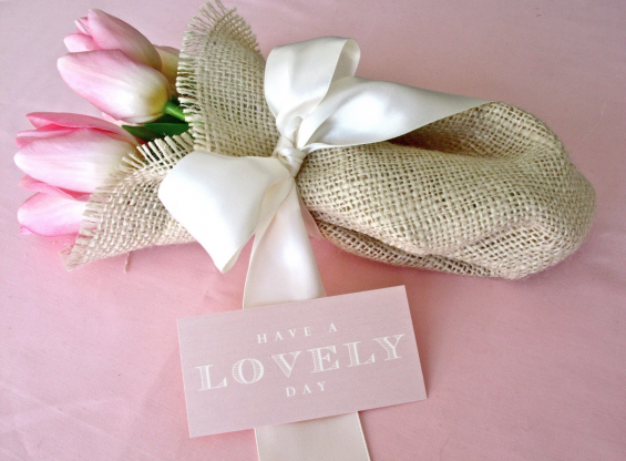 handmade wedding burlap bouquet tulips e1297410515609 DIY Wedding Flowers: Carnation Cones + Burlap Bouquets