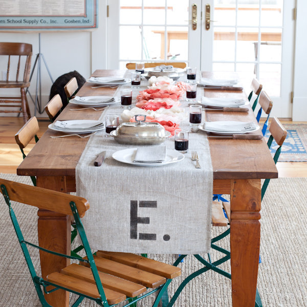 Monogrammed Burlap Table Runner Posted February 22 2011 by EmmalineBride