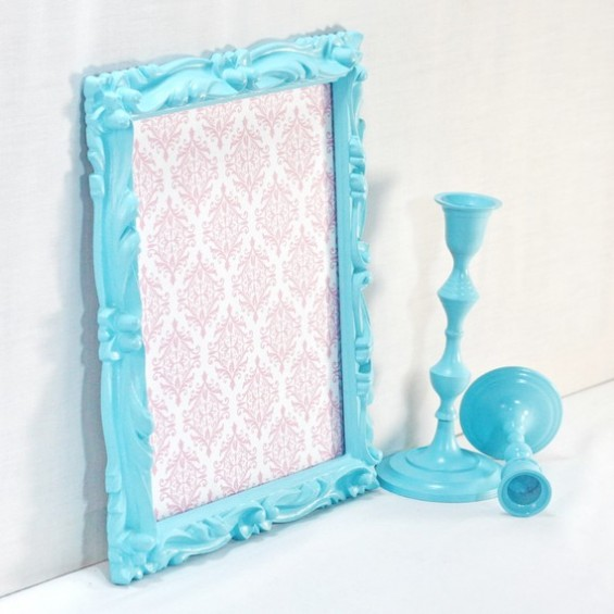 aqua ornate picture frame