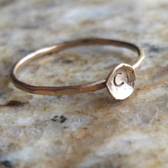 personalized bridesmaid ring with initial for wedding gift