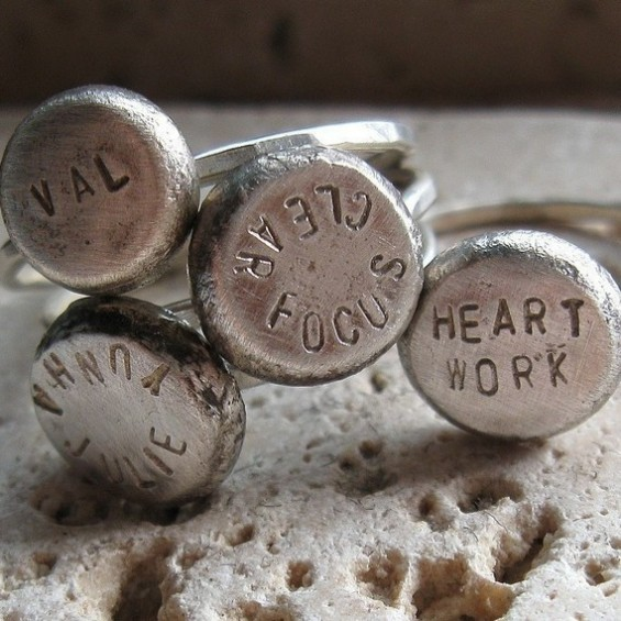 personalized word rings bridal party gifts