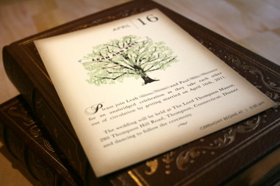 handmade book themed wedding invitation