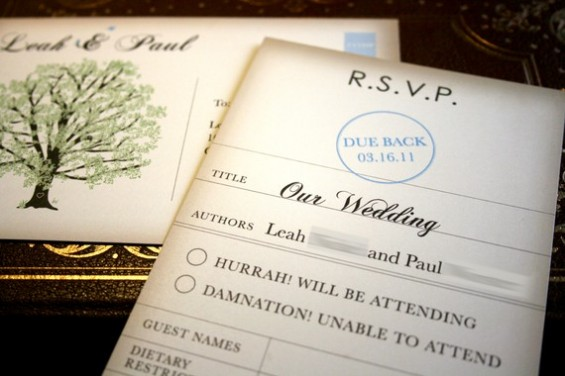 book themed wedding invitation