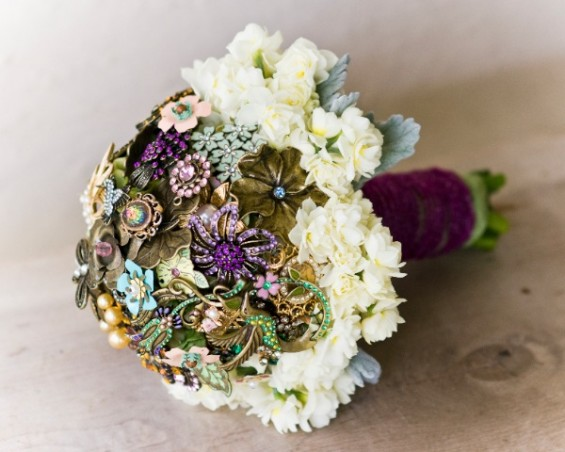 brooch bouquet with fresh flowers
