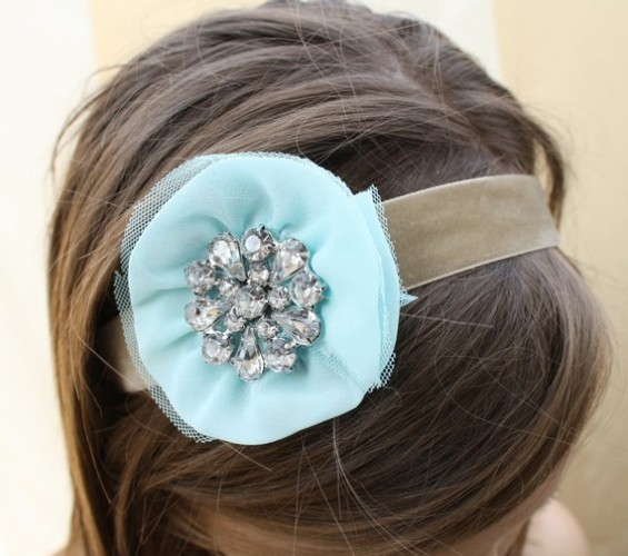 blue chiffon flower headband with rhinestone center
