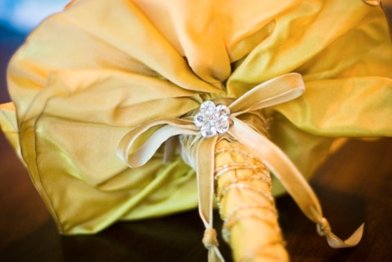 brooch bouquet wrapped