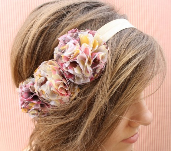 halo headband with rosettes