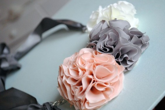 pink gray white chiffon flower necklace