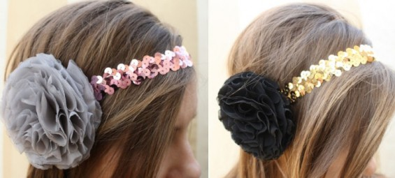 sequin headbands with chiffon floral rosettes