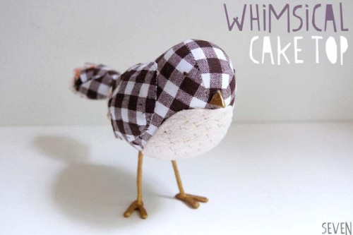 picnic wedding - gingham bird cake topper
