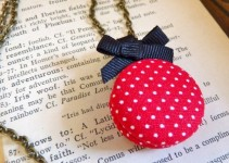 bridesmaid locket with red polka-dots