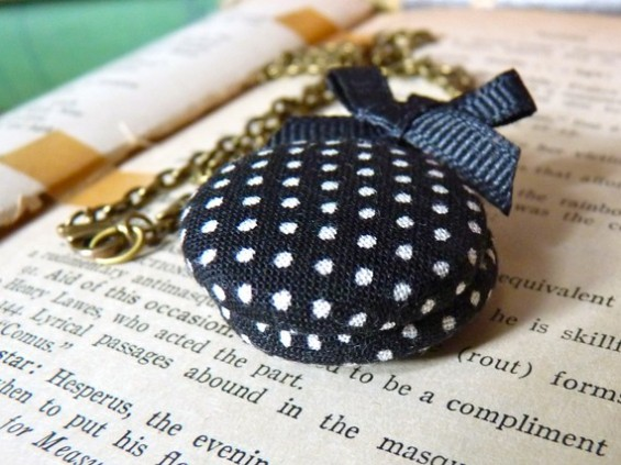 bridesmaid locket in navy with polka dots