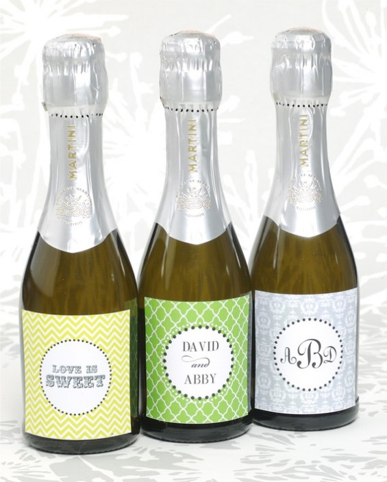mini champagne bottle labels