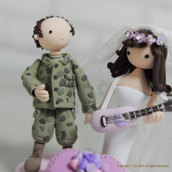 handmade cake toppers - military couple
