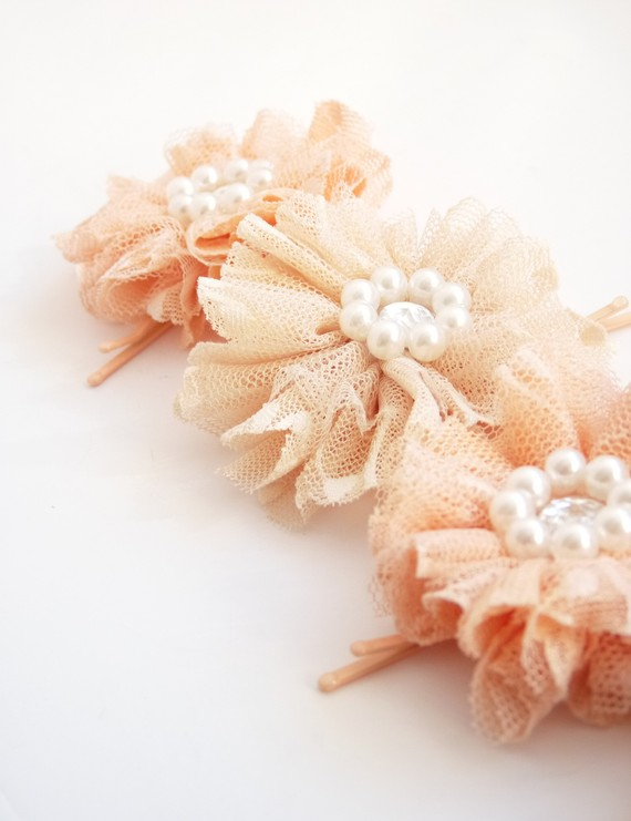 bridal feather headband and tulle flower pins