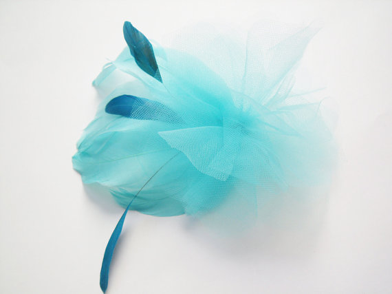 colorful bridal fascinators - blue hair accessory