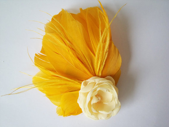 colorful bridal fascinators - mustard yellow hair feather