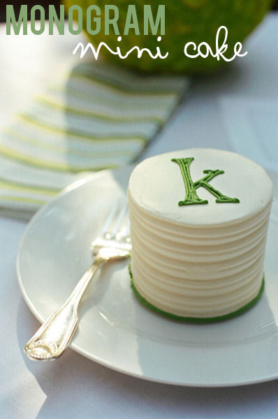 monogram mini wedding cake