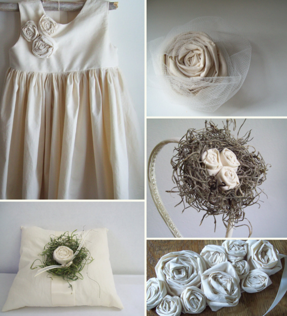 natural flower girl dress