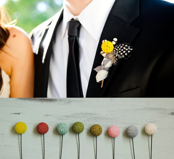 non-floral boutonniere in any color