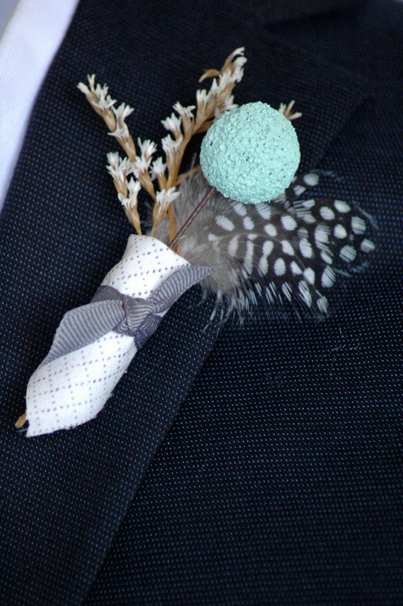 rustic billy button boutonniere