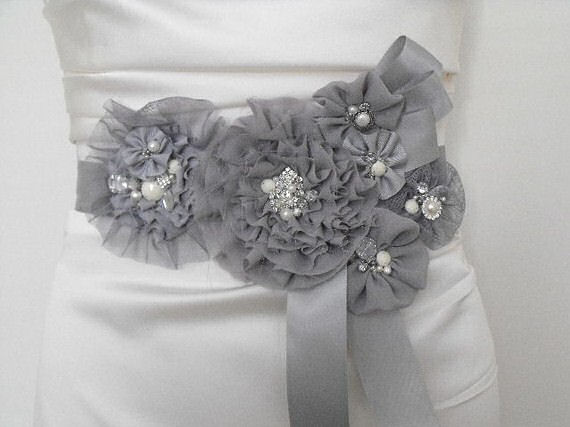 grey flower sash with bling
