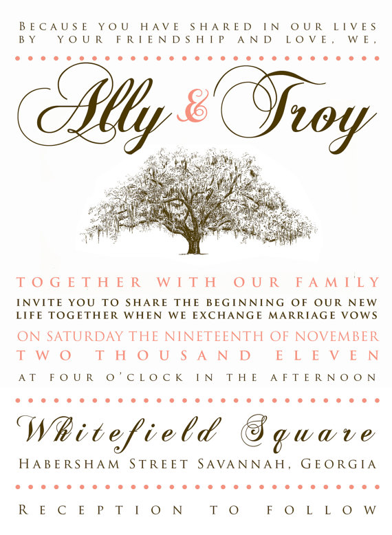 live oak wedding invitation live oak wedding invitation