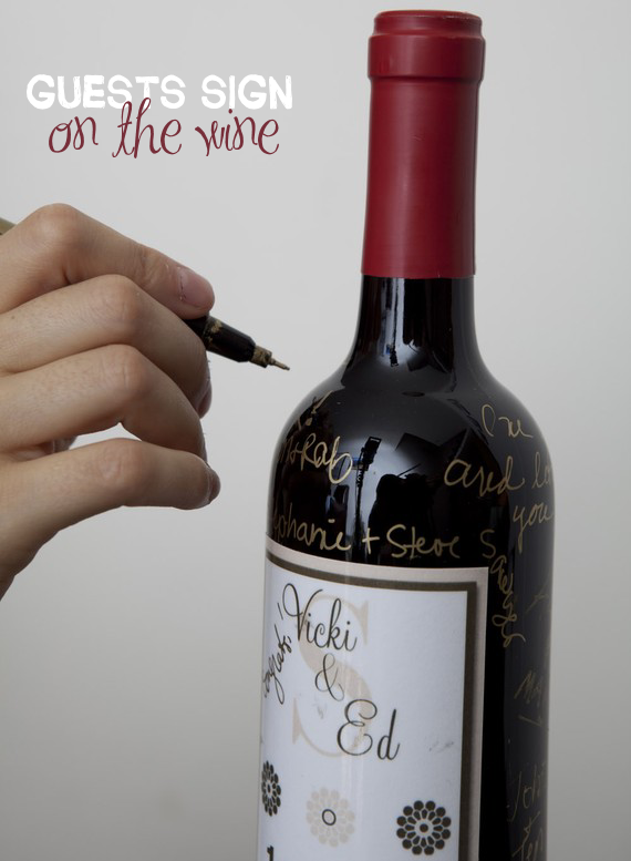 guest book wine bottles