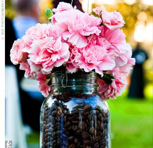 mason jar centerpiece coffee beans